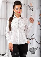 Стильная женская рубашка из стрейч коттона белая