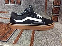 Кеды женские Ванс Vans Classic Old Skool Black черные на коричневой подошве