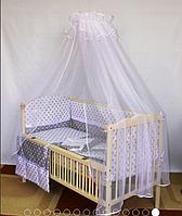 """Детское постельное белье в кроватку с атласной лентой- """"Звездочки"""" без балдахина"""