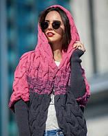Женская вязанная кофта с капюшоном