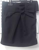 Юбка черная прямая с бантом школьная. Украина Рост 128 134