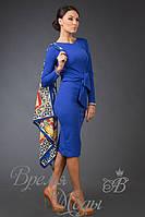 Облегающее офисное платье по колено со стразами на рукавах. Осень/весна 6 цветов