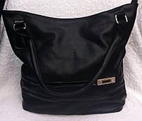 Стильная женская сумка черная с аксессуаром