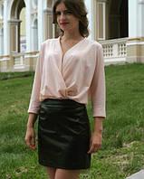 Блузка шифоновая бежевая (персиковая)