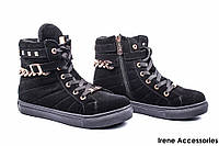Ботинки женские замшевые Grossi (кеды на платформе, байка)