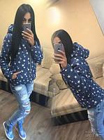 Женская джинсовая куртка в звезды на подкладке и наполнитель синтепон 150 размеры: с м л
