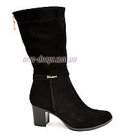 Классические женские зимние ботинки на каблуке, натуральный замш