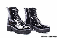 Ботинки женские лаковые AVK (ботильоны на широком каблуке, байка)