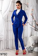 Деловой брючный женский костюм, цвет электрик