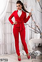 Деловой брючный женский костюм, цвет красный
