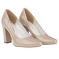 Бежевые туфли ZanZara (модные, лаковые, на высоком каблуке, изысканные, стильные)