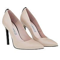 Туфли на шпильке Bravo Moda (кожаные, роскошный дизайн, бежевые, стильные, элегантные)