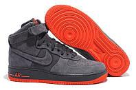 Кроссовки мужские Nike Air Force High Suede Grey  (найк форс, оригинал) серые