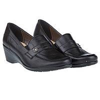 Туфли на танкетке Goral (кожаные, черные, практичные, удобные)