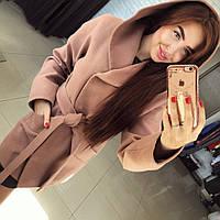 """Женское кашемировое пальто с капюшоном """"Шарм"""", в расцветках"""