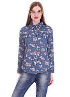 Рубашка джинсовая в цветочек