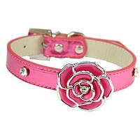 Элегантный кожаный ошейник для собак с яркой розой (Цвет сиреневый, голубой). Размер S.