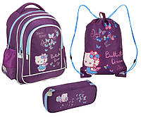 Набор первоклассника для девочки Ранец, сумка для обуви, пенал Kite Hello Kitty 509