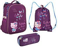 Набор первоклассника для девочки Ранец, сумка для обуви, пенал Kite Hello Kitty 531