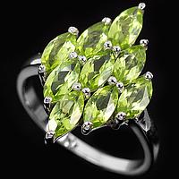 Хризолит кольцо, серебро 925, покрытое белым золотом