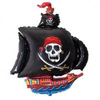 """Фольгированный шарик с гелием """"Пиратский Корабль"""" черный на День рождения"""
