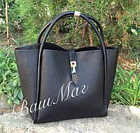 Женская сумка Fendi Фенди с косметичкой черная
