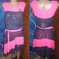 Легкое летнее шифоновое платье в морском стиле, р.44-46