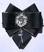 """Брошь-галстук """"Леди"""" цвет черный с серебром"""