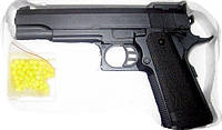 Пистолет пластик+металл на пульках ZM 05