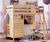 Двухъярусная кровать-чердак Бабочка