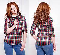 Женская рубашка в клетку с капюшоном
