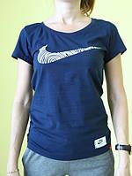 Женская футболка короткий рукав Nike (201618) синяя код 208Д