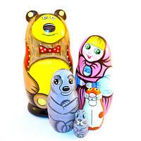 Матрешка «Маша и Медведь» 5 в 1, Петриковская роспись