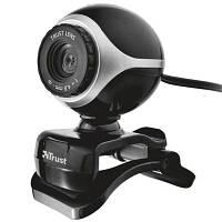 Веб-камера Trust EXIS WEBCAM BLCK-SLVR (17003) видео к 640x480, фото до 0.3 мПикс 640*480, встроенный микрофон