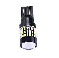 2-х контактная светодиодная лампа цоколь T20, W21/5W (7443 W3x16q) 54-SMD 3014, 660Lm, линза, драйвер, 12В
