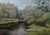 «Тихая речка» картина маслом