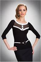 Блузка, кофточка женская черная, белая с длинным рукавом Eldar EMMA офисная деловая одежда