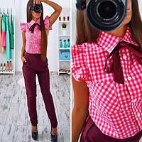Костюм женский деловой рубашка в клетку и брюки разные цвета SKb118