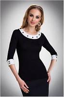 Блузка, кофточка женская черная с длинным рукавом Eldar MANDY офисная деловая одежда