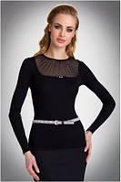 Блузка, кофточка женская черная с длинным рукавом Eldar NILA офисная деловая одежда