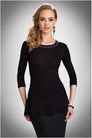 Блузка, кофточка женская черная с длинным рукавом Eldar REBECA офисная деловая одежда
