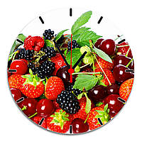 """настенные часы на стекле """"Домашние ягоды"""" круглые"""