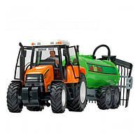 Игрушечные машинки и техника «Dickie Toys» (3474601) трактор с прицепом, 42 см (оранжевый с цистерной)
