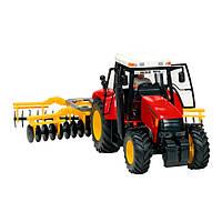 Игрушечные машинки и техника «Dickie Toys» (3474601) трактор с прицепом, 42 см (красный с культиватором)