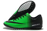 Сороконожки подростковые Nike Mercurial Walked зелено-черные (найк меркуриал)