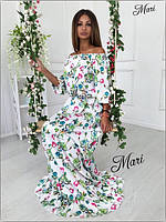 Платье яркое макси с открытыми плечами и оборкой по низу шелк в цветочный узор 2MIL450