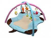 Мягкий коврик для новорожденных Собачка с погремушками