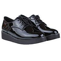 Туфли женские Summergirl (лаковые, черные, на толстой подошве, удобные)