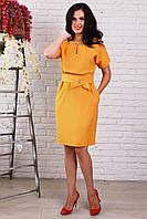 Красивое платье с поясом горчичного цвета