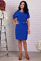 Красивое платье с поясом синее
